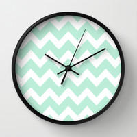 Chevron Mint Green & White Wall Clock by BeautifulHomes | Society6