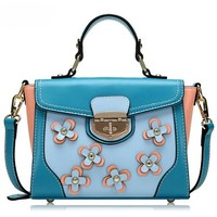 Fashion Contrast Color Floral Print Handbag Cross Body Bag