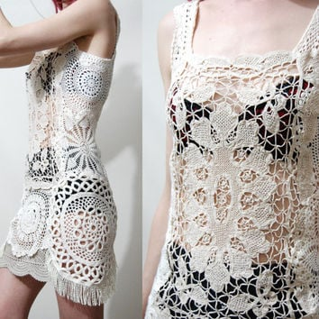 CROCHET Mini Dress White Vintage Lace Cotton Fringe Sheer Bohemian Beach Boho Wedding Festival Handmade ooak XS