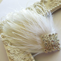 Bridal Feather Hairpiece Gatsby Wedding,1920s, Ivory, White, Bridal Head Piece, Feather Fascinator,
