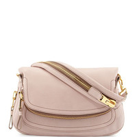 Jennifer Medium Leather Shoulder Bag, Blush Nude