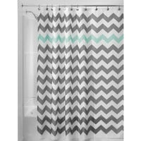 InterDesign Chevron Shower Curtain, 72 by 72-Inch, Gray/Aruba