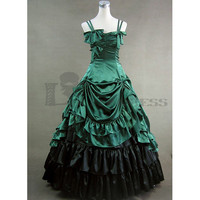 Buy Spagetti Straps Multi-Layer Ruffles Green Gothic Victorian Dress [TQL120427057] - £77.59 :