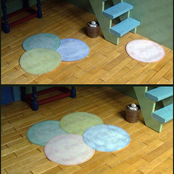DIY Printable Round Rugs - Dollhouse Miniatures - 4 Pastel Colors - Plain and Dot Patterns - One Inch Scale - PDF Digital Download