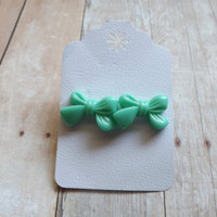 Teal Aqua Blue Bow Earrings Girly Bow Studs Girls Gift Under 20 Bridal Bridesmaids Wedding Gift