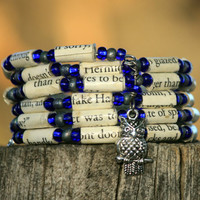 Harry Potter Bracelet Ravenclaw Paper Bead Bracelet Upcycled from Deathly Hallows Book