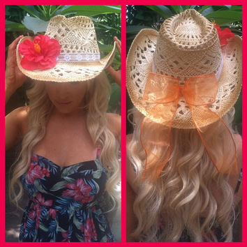 Hibiscus Themed Cowgirl Hat