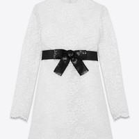 Saint Laurent School Girl Mini Dress In Ivory Lace | ysl.com