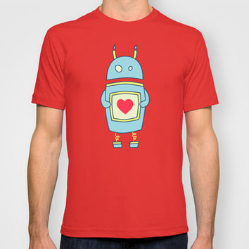 Blue Cartoon Robot With Heart T-shirt by Boriana Giormova
