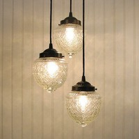 Island Falls II Clear CHANDELIER Trio Created New by LampGoods