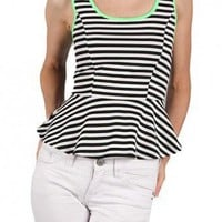 NEON TRIM FLARED TOP-Dressy