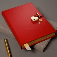 Goldtone Heart Red Locking Diary, Graphic Image - Barnes &amp; Noble