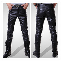 Solid Pockets Skinny PU Leather Low-Rise Menâ??s Pants