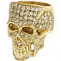 Jessica Kagan Cushman Brass Skull and Crystals Ring - Max and Chloe