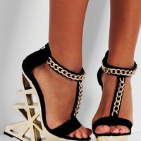 Electra LUXE Black and Gold Cutaway Platform Shoes | Pink Boutique
