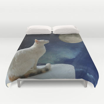 White Cat and Moon Duvet Cover by Erika Kaisersot