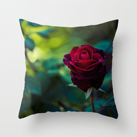 Single Red Rose Throw Pillow by Light Wanderer | Society6