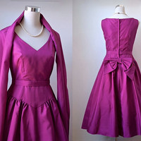 Vintage Jean Allen Dress - Fuchsia Pink Prom / Evening / Party / Races Dress With Matching Wrap