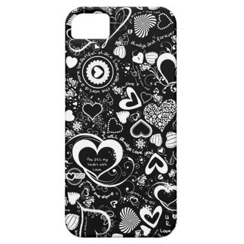 Heart Love Doodles, Black & White-iPhone 5/5s Case