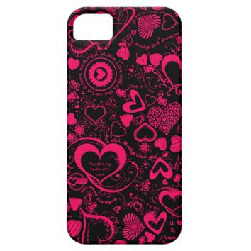 Heart Love Doodles Pink/Black iPhone 5/5s Case