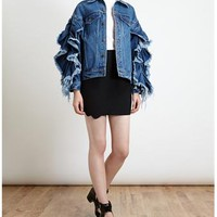 ASHISH | Frill Sleeve Denim Jacket | Browns fashion & designer clothes & clothing