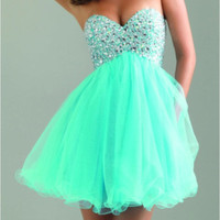 Short Girls Party Dress Sweetheart Bodice Beaded Tulle Mint Green Prom Dress Short DF10-in Prom Dresses from Apparel & Accessories on Aliexpress.com