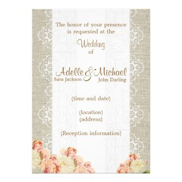 Linen Lace Pink Roses Wedding Invitation