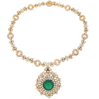 Diamond Necklace with Emerald and Diamond Pendant in #505265