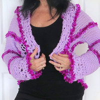 Hand knit cozy shrug with crochet edges, soft lilac sweater, outerwear