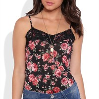 Floral Print Tank Top with Lace Trim Neck
