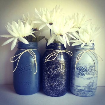 Set of 3 rustic shabby chic grey and black glitter mason jars