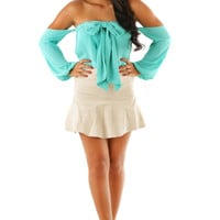 A Bow For Her Top: Aqua