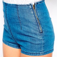 ASOS PETITE High Waist Short In Vintage Wash