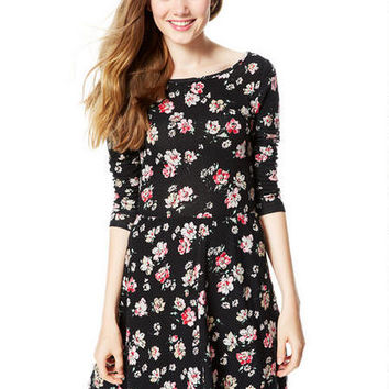 Floral Jersey Ballet Dress - Black Multi