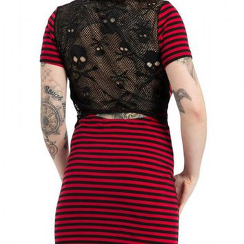 "Women's ""Stripes and Skulls"" Net Backing Dress by Jawbreaker (Red/Black)"
