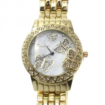 Geneva Women's Gold Rhinestone Butterfly Watch