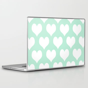 Hearts of Love Mint Green Laptop & iPad Skin by BeautifulHomes | Society6