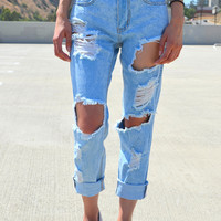 Ripped & Frayed Boyfriend Jeans - Light | Shop Civilized