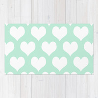 Hearts of Love Mint Green Area & Throw Rug by BeautifulHomes | Society6