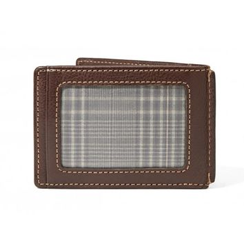 Fossil Brown Mercer ID Bifold Front Pocket Leather Wallet w/ Money Clip