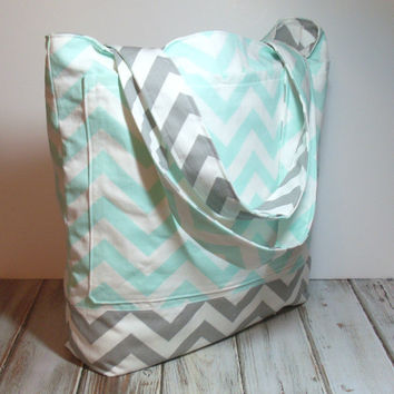 Mint Tote Bag - Mint Beach Bag - Mint Gray Tote - Mint Chevron Bag - Chevron Tote Bag - Bridesmaid Tote - Summer Tote Bag - Mint Wedding Bag