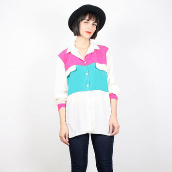 Vintage Pink Green Shirt Color Block Shirt New Wave Top Long Sleeve Secretary Blouse Cream Ivory 1980s 80s Oversized Draped Shirt M Medium