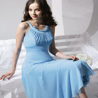 A-Line Sleeveless Jewel Knee Length Chiffon Satin Bridesmaid Dress