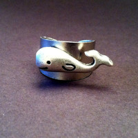 Whale Ring Good Luck Adjustable Ring by Jennasjewelrydesign