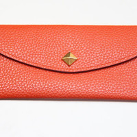 Orange Leather wallet with golden pyramid by Pikamo on Etsy