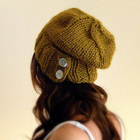 Womens Slouchy unisex chunky knit hat   Citrine by KittyDune