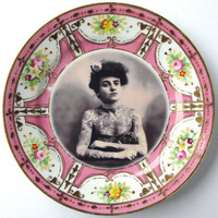 The Tattooed Lady Altered Antique Plate by BeatUpCreations