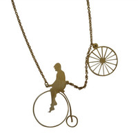 RawSpace :: Brass Necklace - Penny Farthing