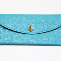 Blue Leather wallet with golden pyramid by Pikamo on Etsy