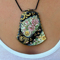 Ceramic Black Pendant Vintage Style Pendant Handmade by rachelcart